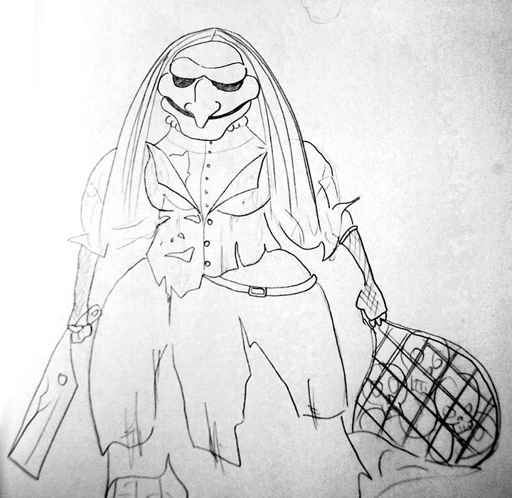 This witch costume sketch is by Tyson Vick.
