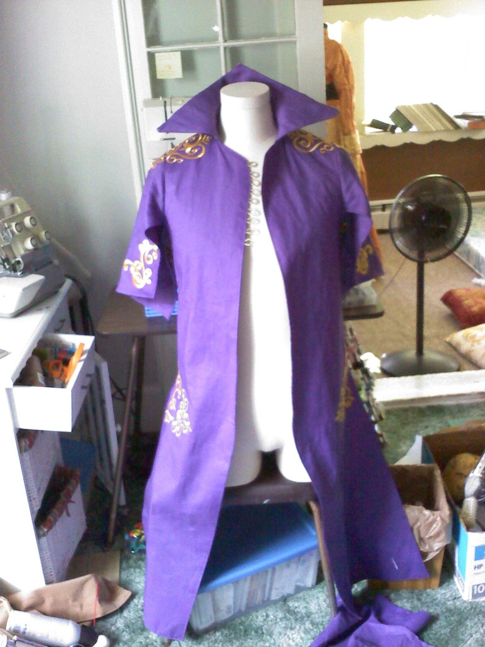 The purple coat is coming together.