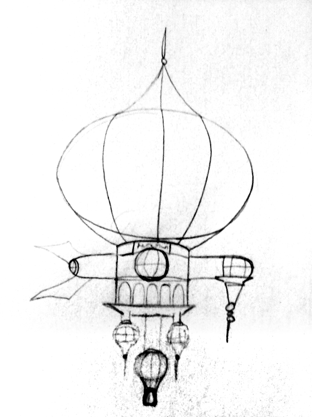 A sketch of the airship I drew before building it.