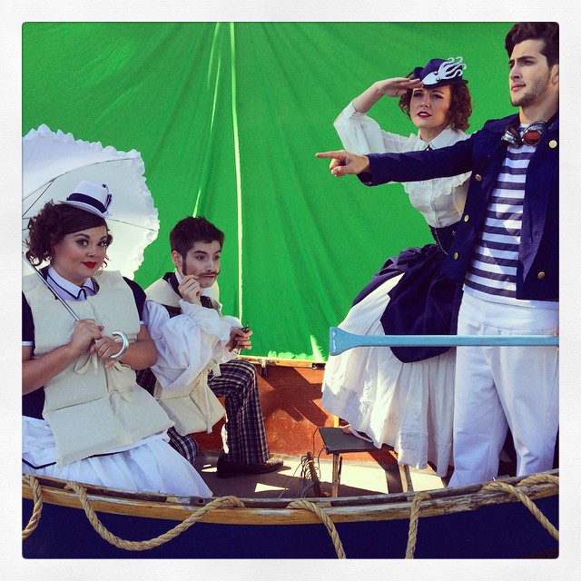 The cast in the boat.