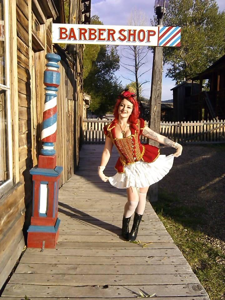Nikki Ice as a steampunk Saloon girl.