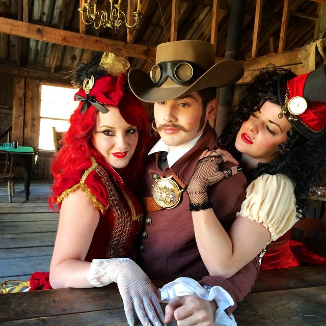 Percy with the Saloon girls.