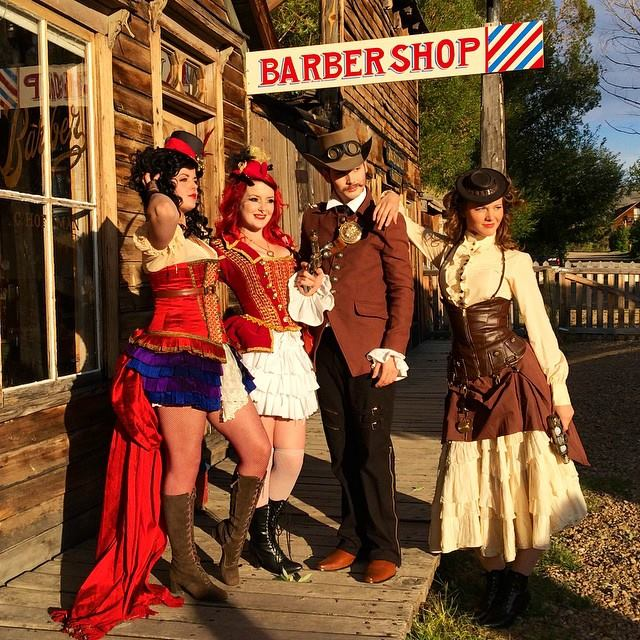 The models pose in Nevada City.