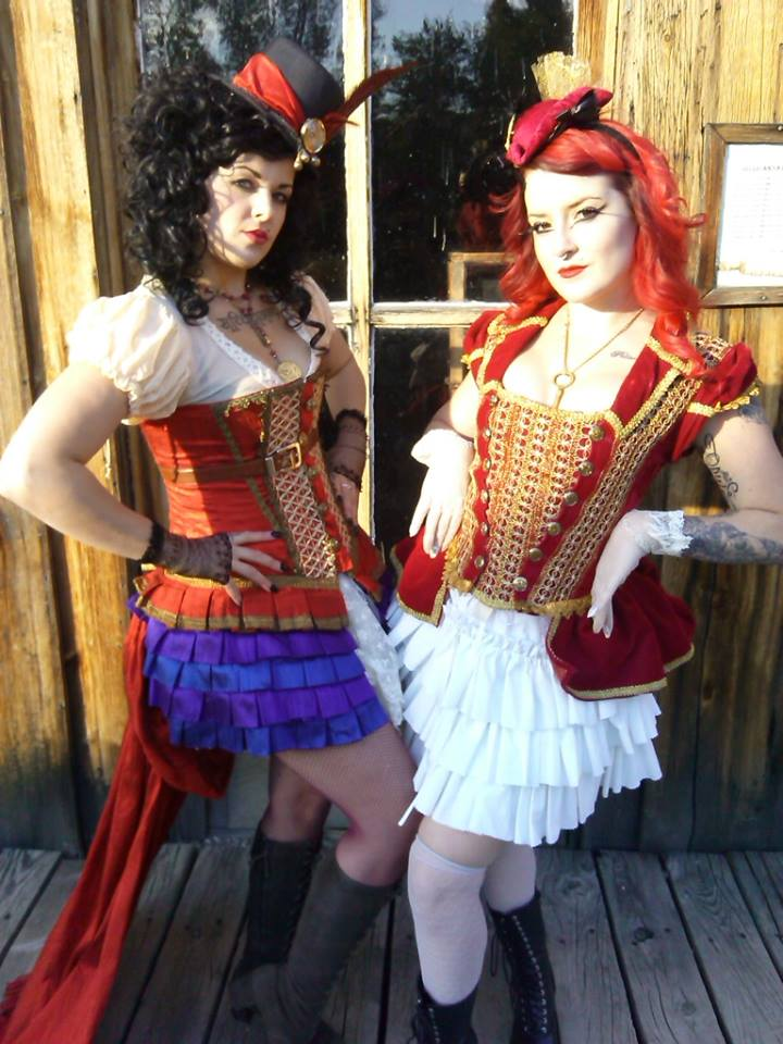 Steampunk Saloon girls pose in Nevada City Montana.