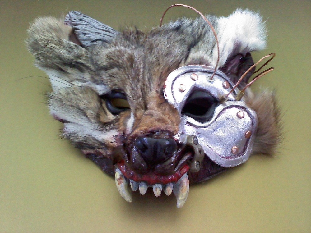 Steampunk Skinwalker mask made by Tyson Vick out of a real coyote face.