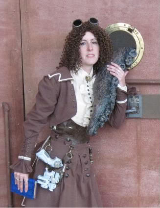 Alisa Kester wears her steampunk costume which we restyled for Philomena Dashwood.