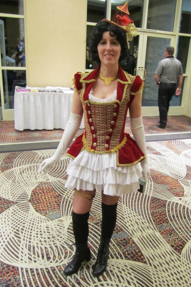 Alisa Kester wearing her red velvet birdcage Steampunk Outfit.