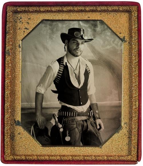 Steampunk Cowboy daguerreotype test image.