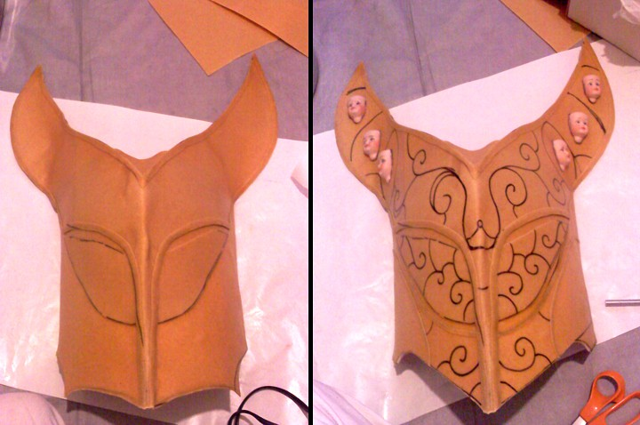 Genie mask cut out of worbla and formed, designs drawn on in marker.