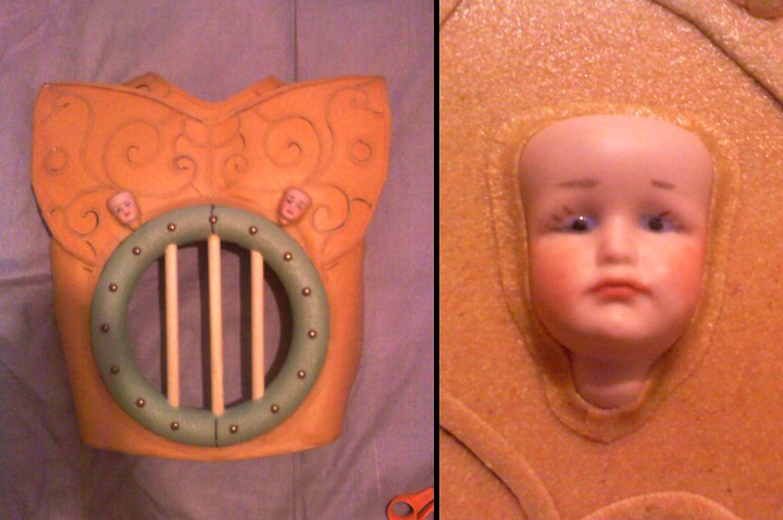 Genie oven-chest made out of worbla with baby face close-up.