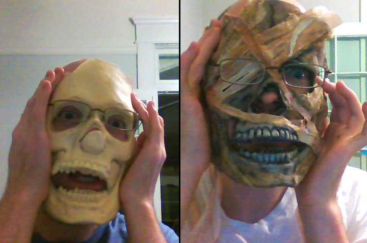Here I am with the blank prosthetic and then with mummy wrappings added.