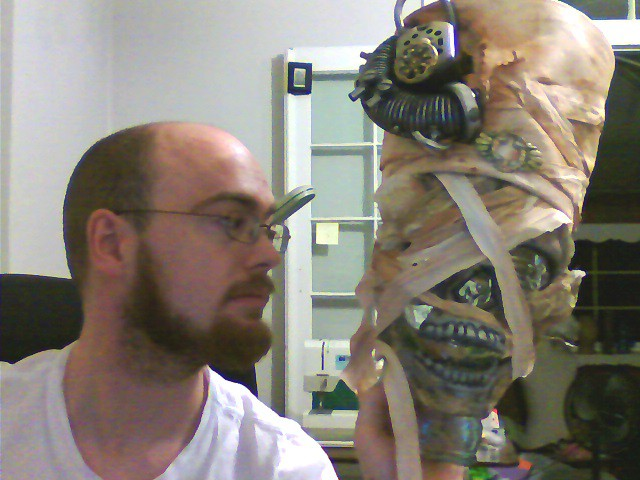 Mummy hat completed and displayed on mask.