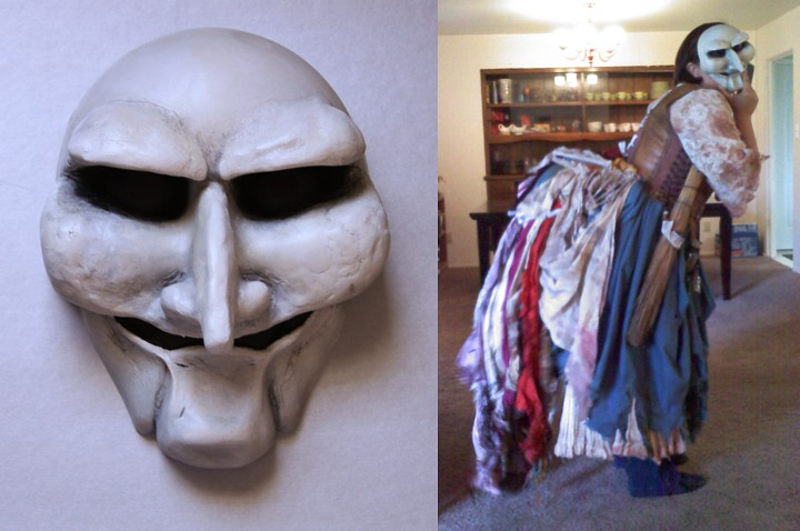 The finished Witch mask, and Alisa's costume in its first fitting on the model, Lizzie.
