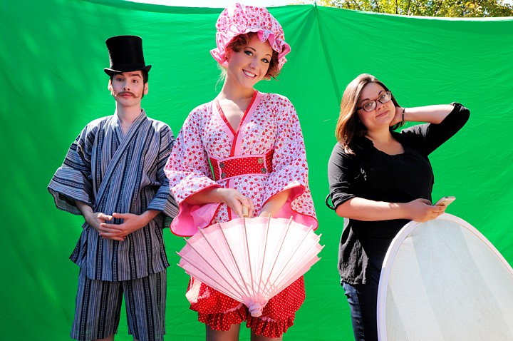 The cast in Japanese Swimsuits, and the crew, Lizzie, with reflector.
