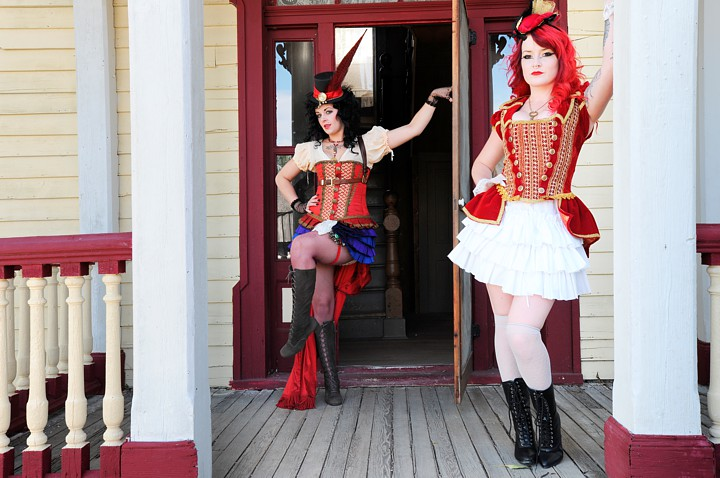 Steampunk Saloon girls appear in Nevada City Montana!