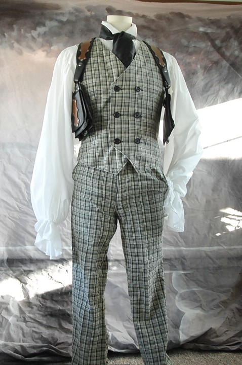 The green plaid costume Percy wears.