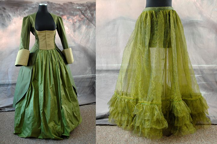 Philomena's Riding Outfit under construction. The green underskirt is underneath.