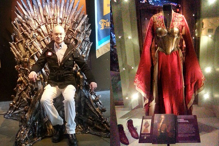 Tyson on the Iron throne and Sersei's gown.