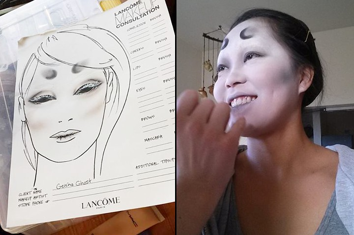 Sam's make-up sketch and applying Meilyn's make-up.