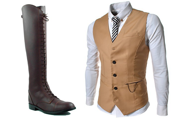 The boots and vest were purchased online.