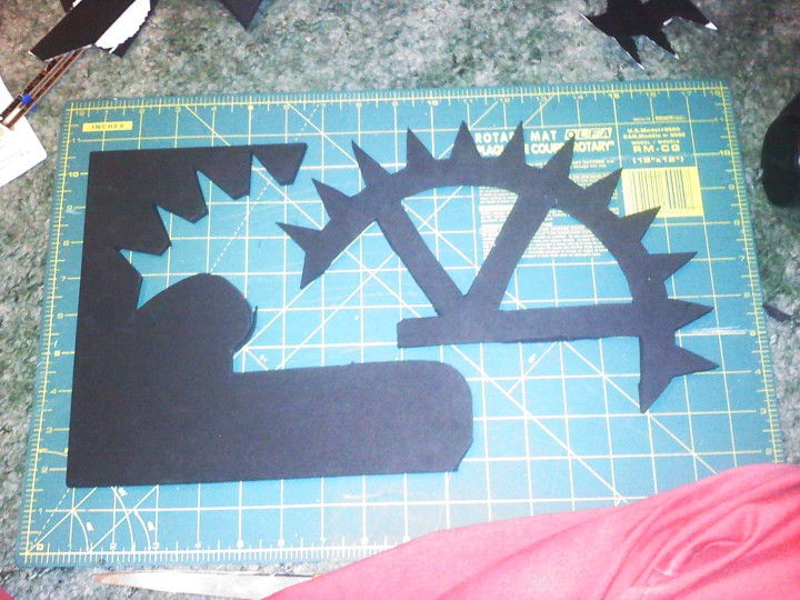 2. I cut out the shape of a broken gear.