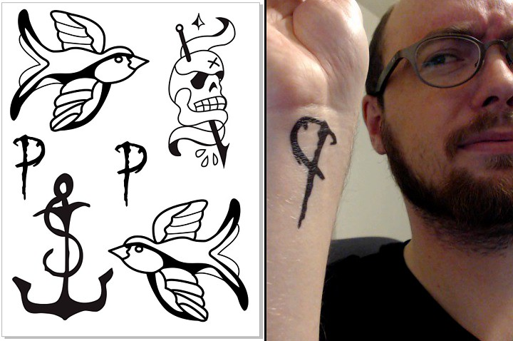Tattoo graphics turned into press on tattoos.