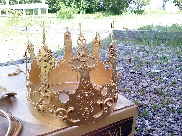I painted the crown gold with spray paint.