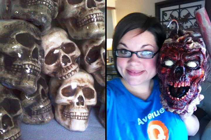 Lizzie and all of the severed heads I bought for the shoot from Michael's and Spirit Halloween Store.