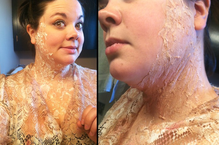 Lizzie applies toilet paper, liquid latex and make-up to make her skin gross.