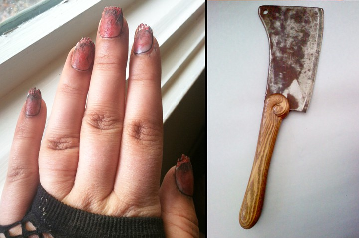 I altered some press-on fingernails, and my dad carved a handle for the cleaver.