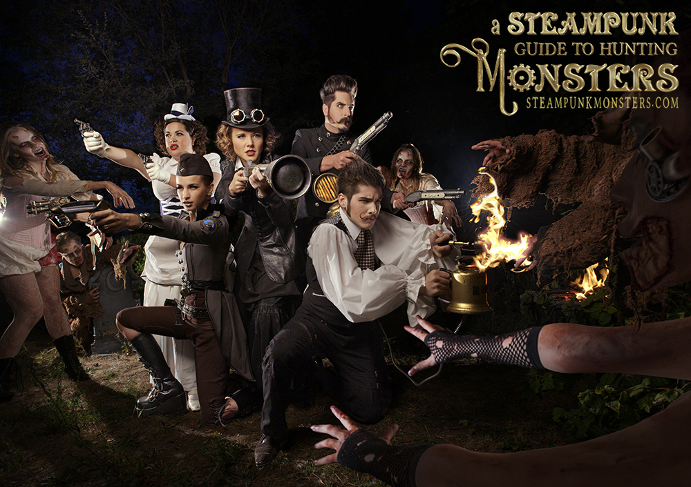 The monster hunters are attacked by zombies in this image from the book.
